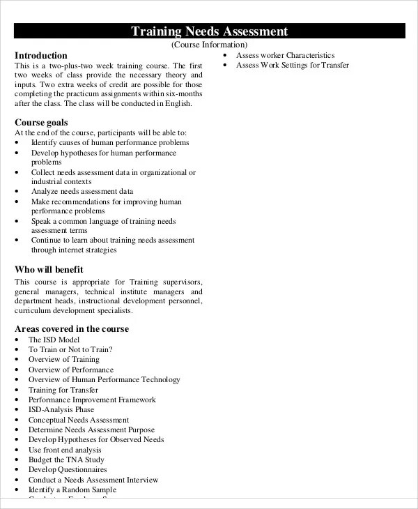 32+ Free Needs Assessment Templates Free  Premium Templates - organizational assessment template