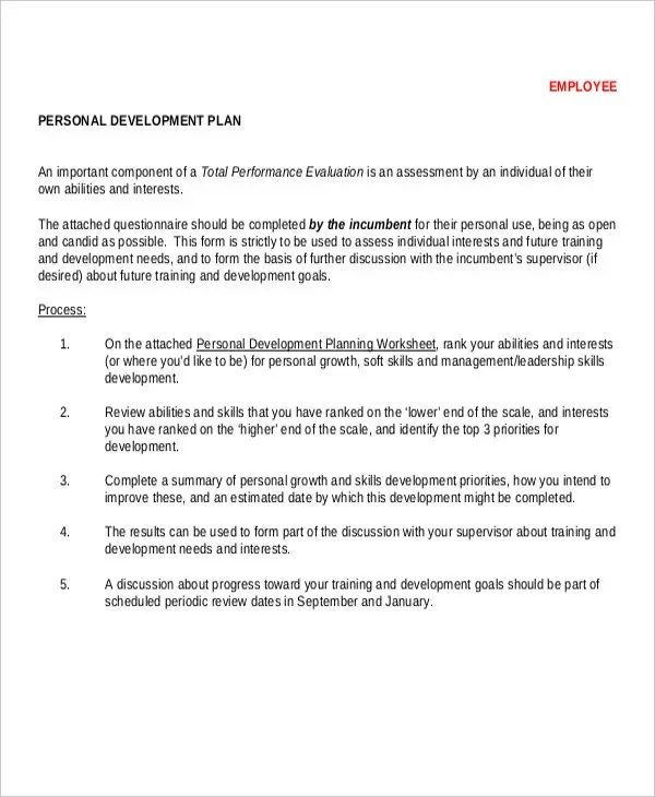 13+ Personal Development Plan Templates -Free Sample, Example Format