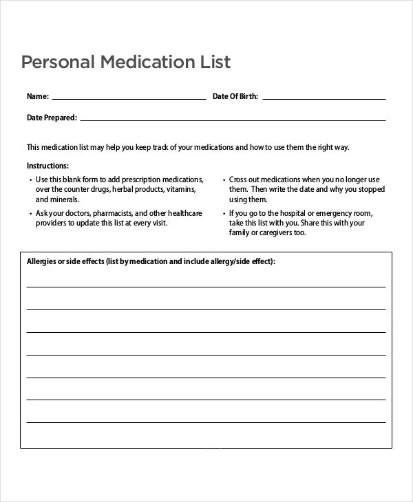 9+ Medication List Templates - Free Samples, Examples Format - allergy list template