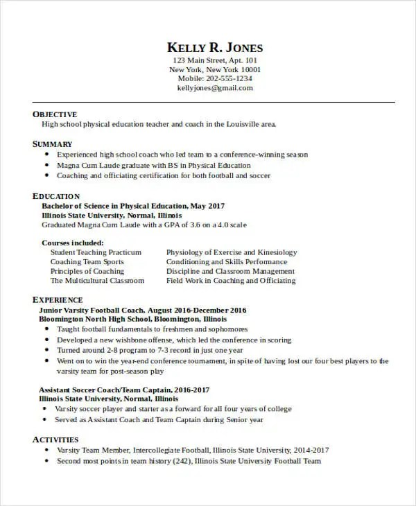 14+ Education Resume Templates in Word Free  Premium Templates - physical education resume