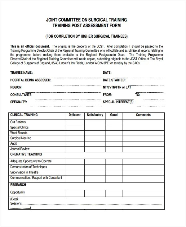 47+ Assessment Form Examples Free \ Premium Templates - training assessment form
