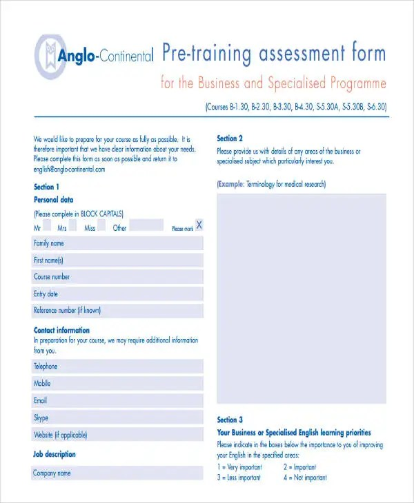 19+ Needs Assessment Form Templates Free  Premium Templates