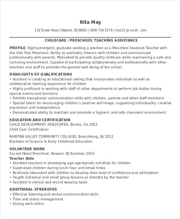 preschool assistant teacher resumes