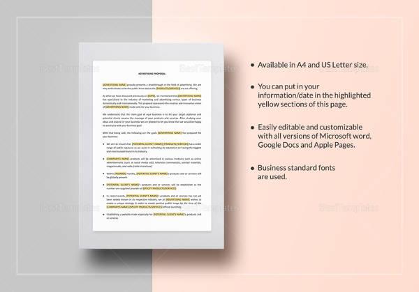 Advertising Proposal Templates - 15+ Free Sample, Example Format - advertising proposal template