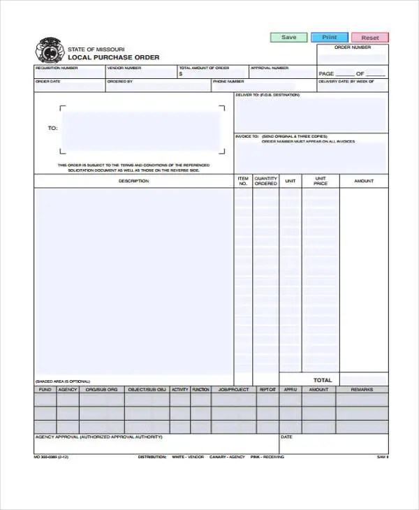 12+ Purchase Order Samples Free  Premium Templates - local purchase order template