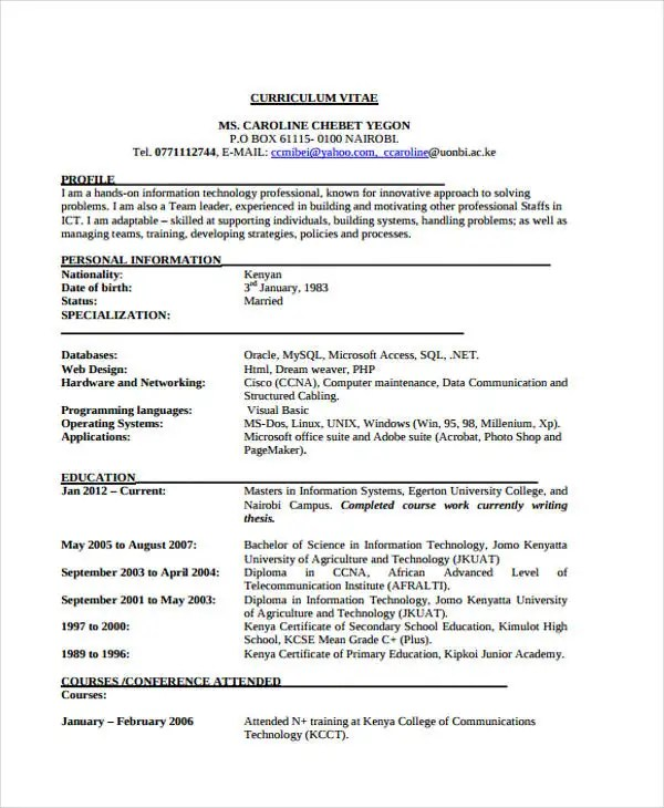 35+ Simple IT Resume Templates - PDF, DOC Free  Premium Templates - information technology manager resume