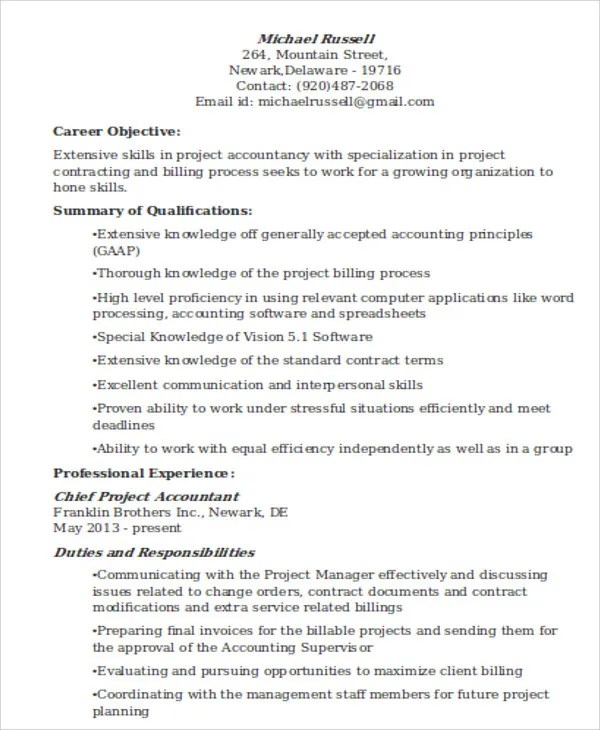 project accountant resume - Goalgoodwinmetals