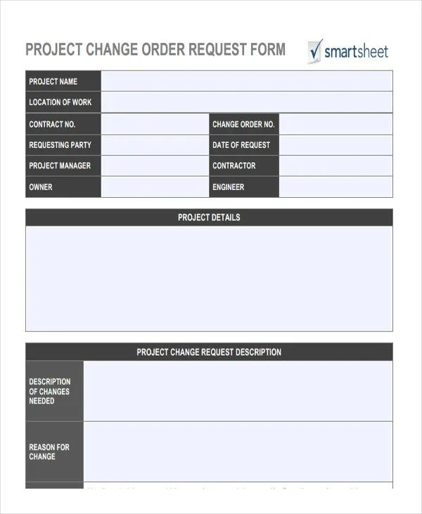 change order request template