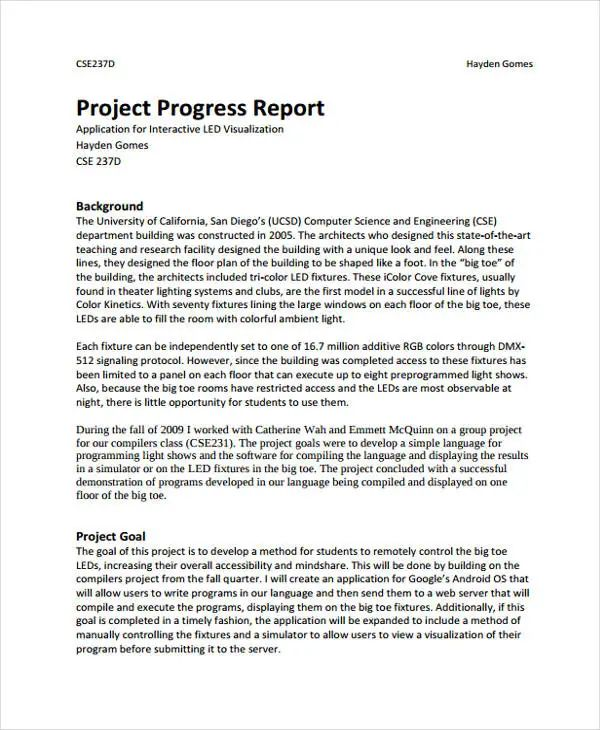 project report in excel format download