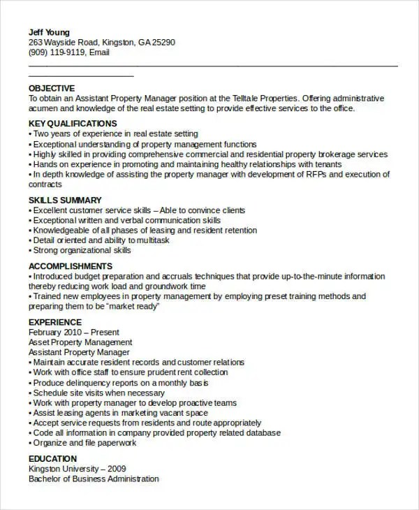 Assistant Property Manager Resume Sample | Manager.billybullock.us