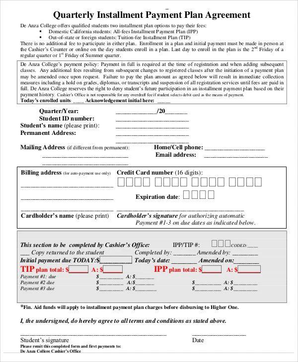payment installment template