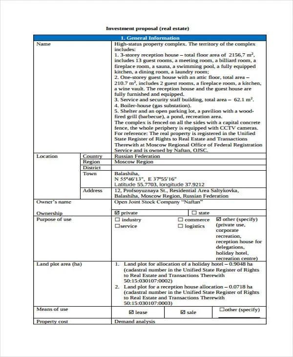 33+ Proposal Formats Free \ Premium Templates - real estate proposal template