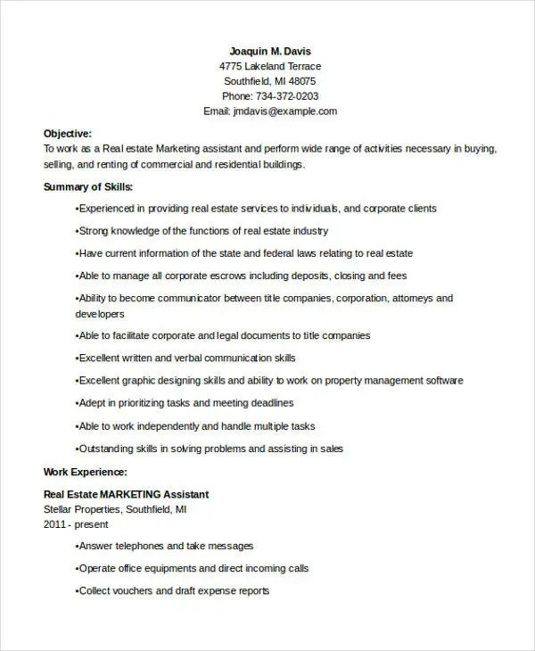 Resume For Marketing Assistant marketing assistant cv sample