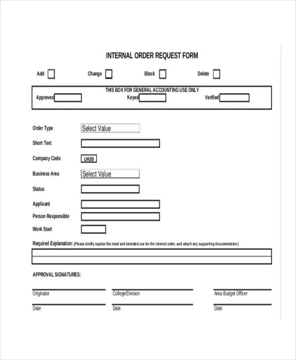 8+ Internal Order Forms - Free Sample, Example Format Download - company order form template