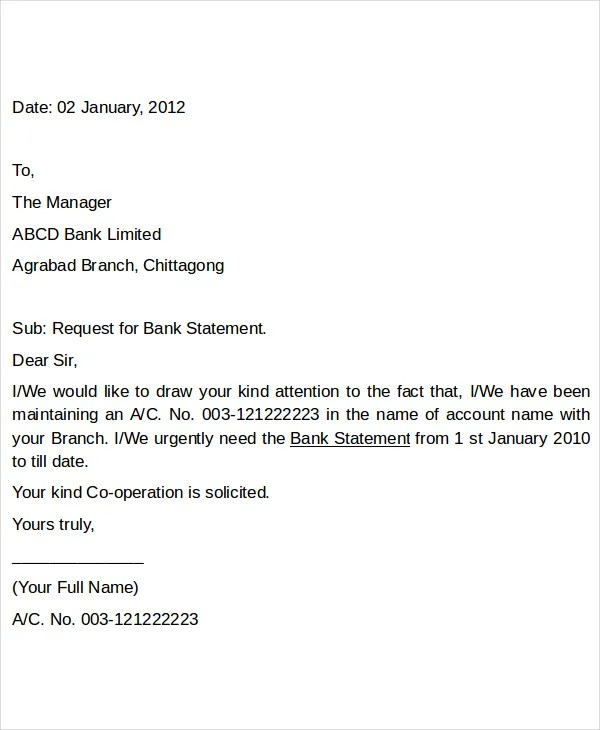 Request Letter For Bank Format Recommendation – Reference Letter for Bank