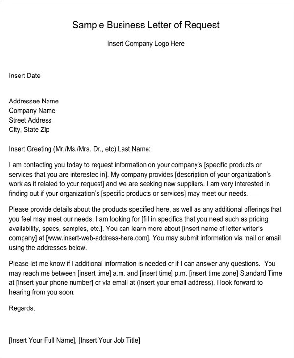 Request Letter Format Sample For Business - Business Application Letter