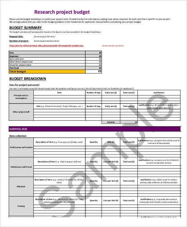 7+ Research Budget Templates - Word, PDF, Excel Free  Premium