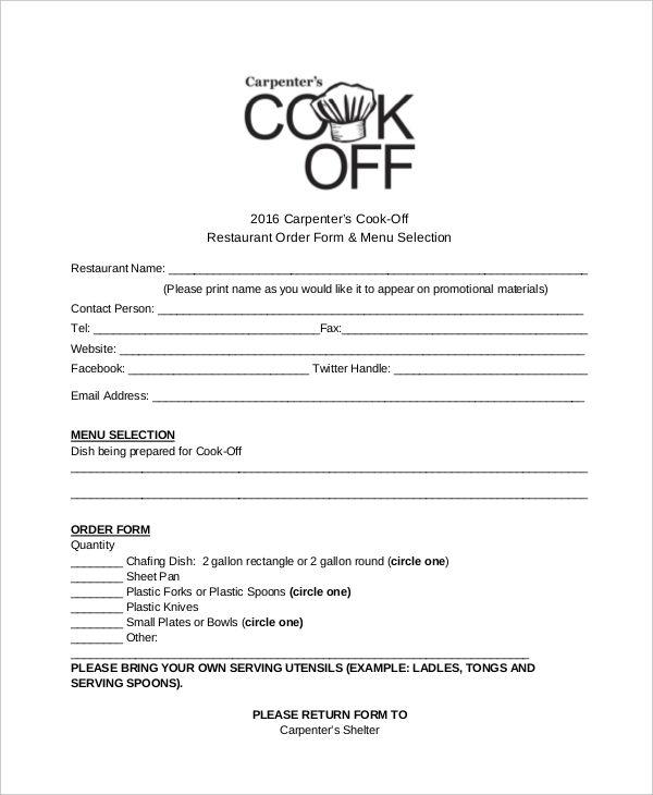 restaurant food order form template
