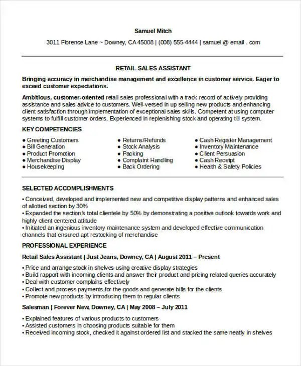 10+ Sample Retail Sales Resume Templates - PDF, DOC Free  Premium