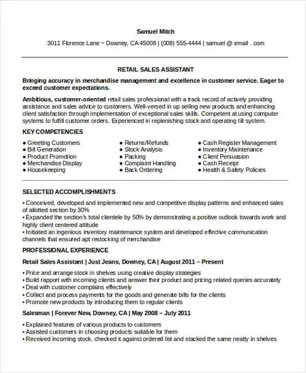 template resume of assistant manager