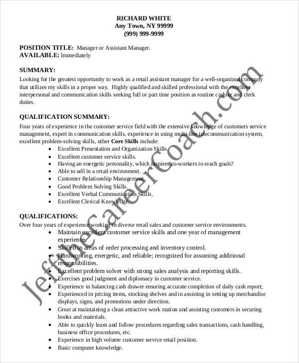 10+ Sample Retail Sales Resume Templates - PDF, DOC Free  Premium - retail sales resume skills