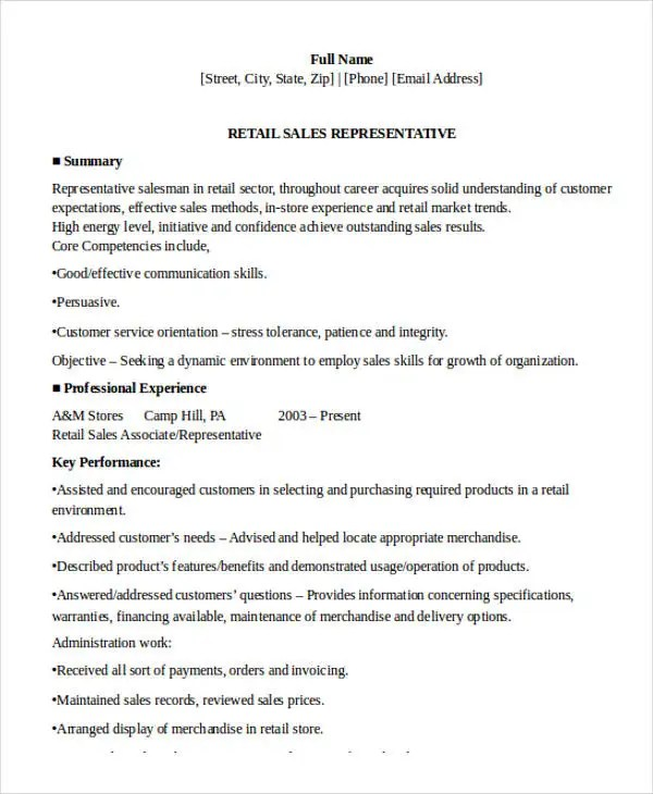 10+ Sample Retail Sales Resume Templates - PDF, DOC Free  Premium