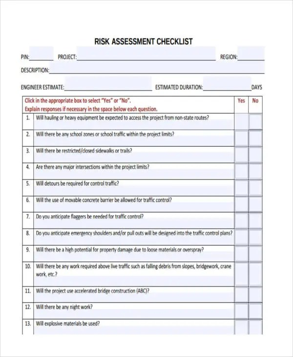 11 Assessment Checklist Templates   Free Sample ,Example Format   Risk  Assessment Checklist Template