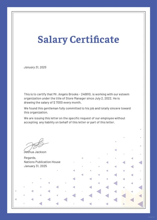 Salary Certificate Formats - 17+ Free Word, Excel, PDF Documents - salary certificate template