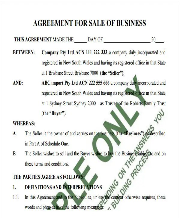 34+ Simple Agreement Forms Free  Premium Templates - sale of business agreement
