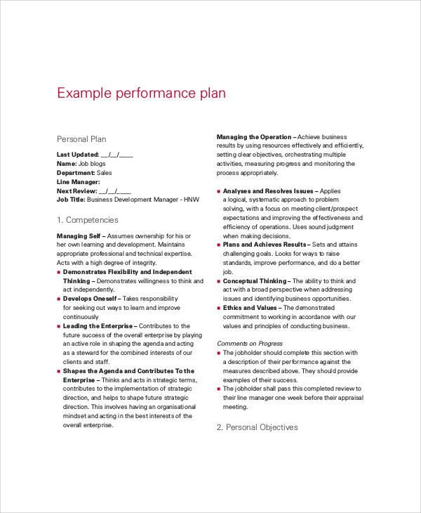 9+ Performance Plan Templates - PDF, Word Format Download Free