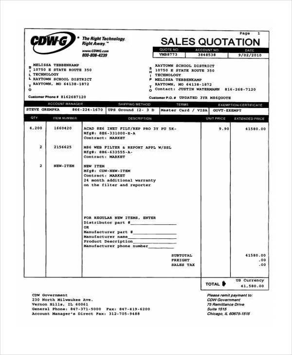 Sales Quotation Templates - 7 Free Word, PDF Format Downlaod Free