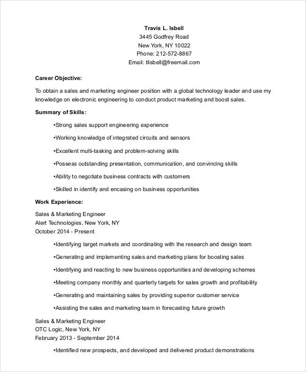 27+ Marketing Resume Templates in PDF Free  Premium Templates - sales and marketing resume examples