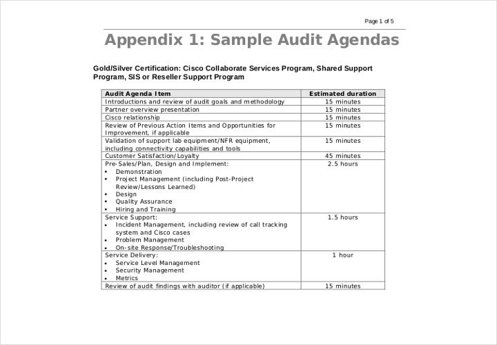 sample internal audit