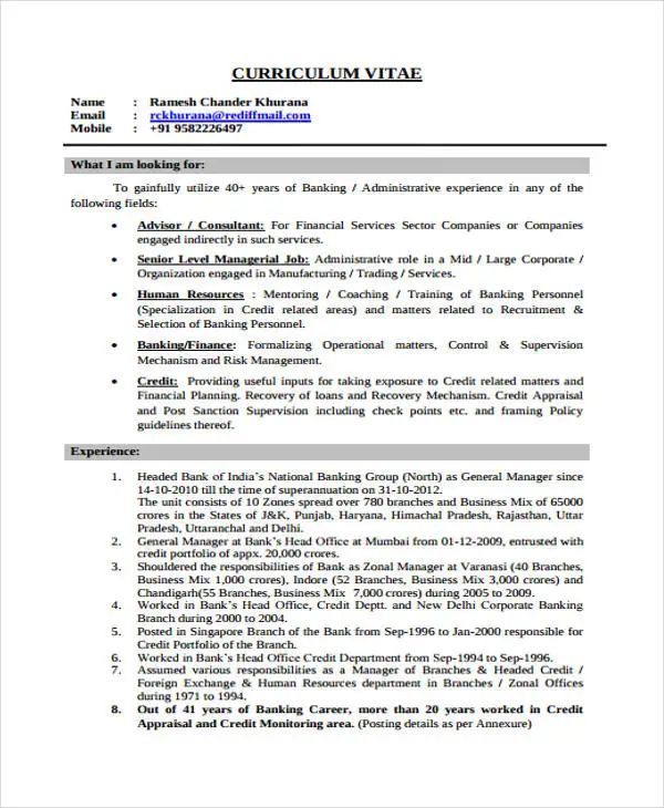 banking resume sample pdf