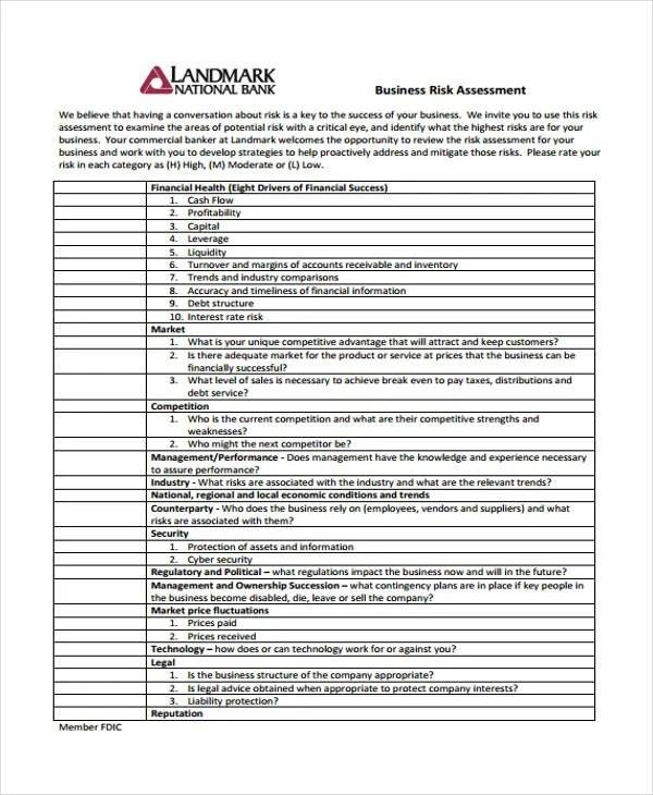 30+ Risk Assessment Samples Free  Premium Templates