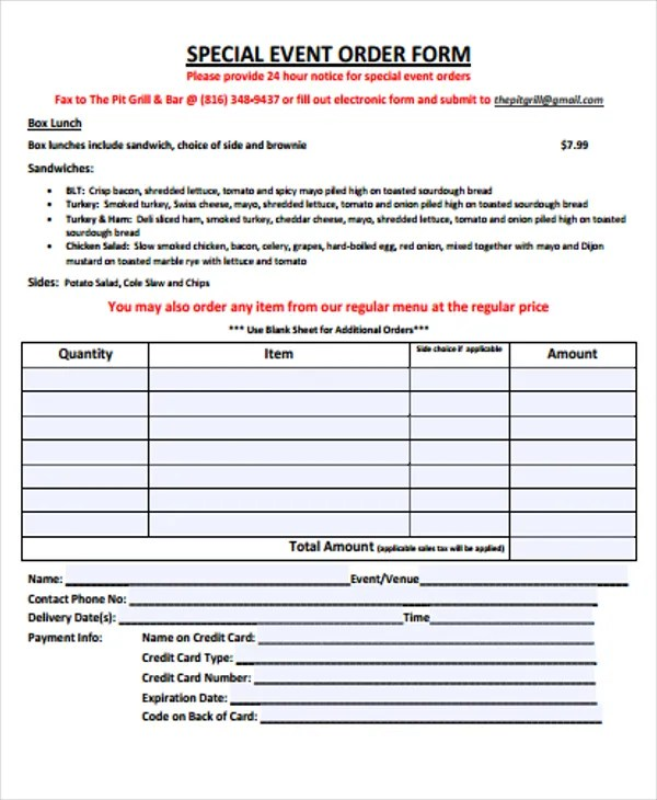 9+ Event Order Forms - Free Samples, Examples Format Download - event order form