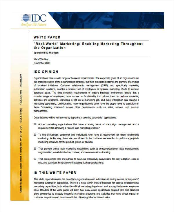 33+ White Paper Templates in PDF Free  Premium Templates - sample white paper