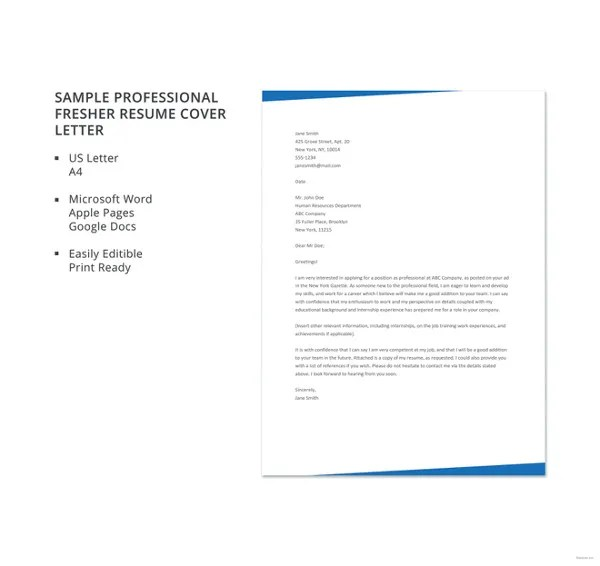 10 Cover Letter Templates for Freshers Free  Premium Templates