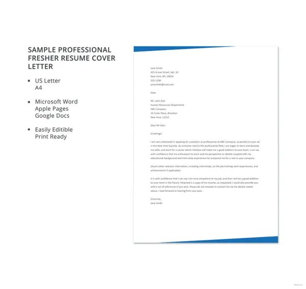 sample cover letters for job