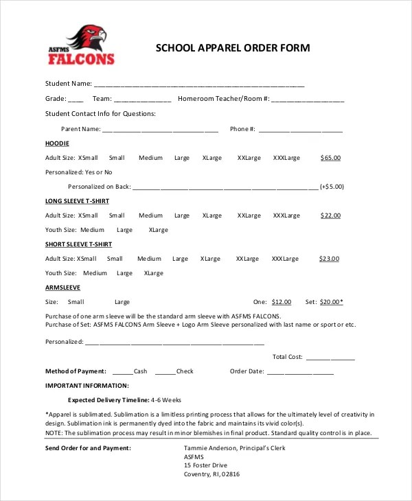 12+ Apparel Order Forms - Free Sample, Example, Format Download