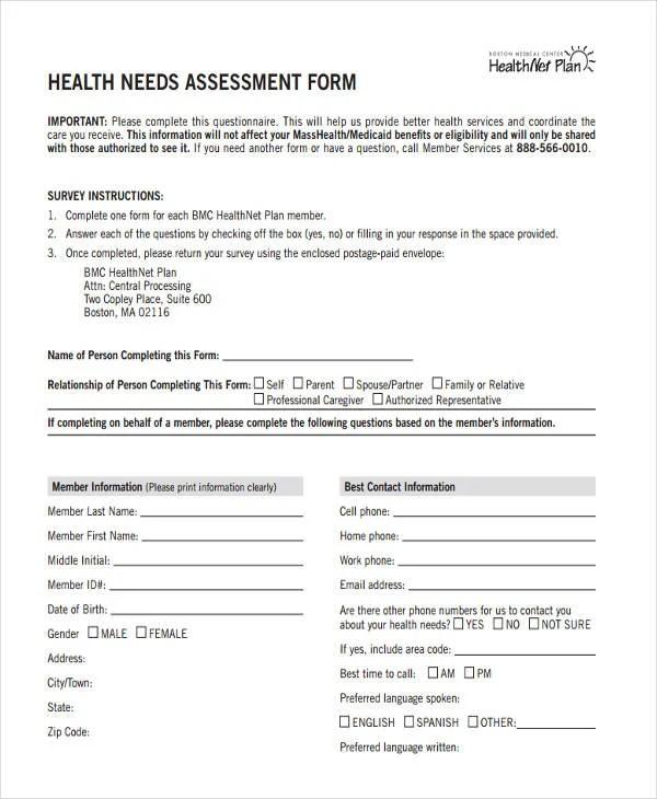 19+ Needs Assessment Form Templates Free  Premium Templates