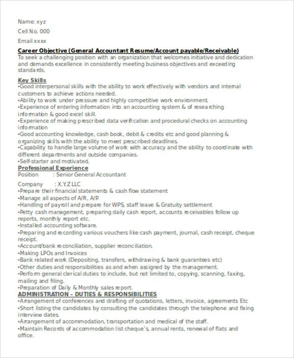 resume examples accountant