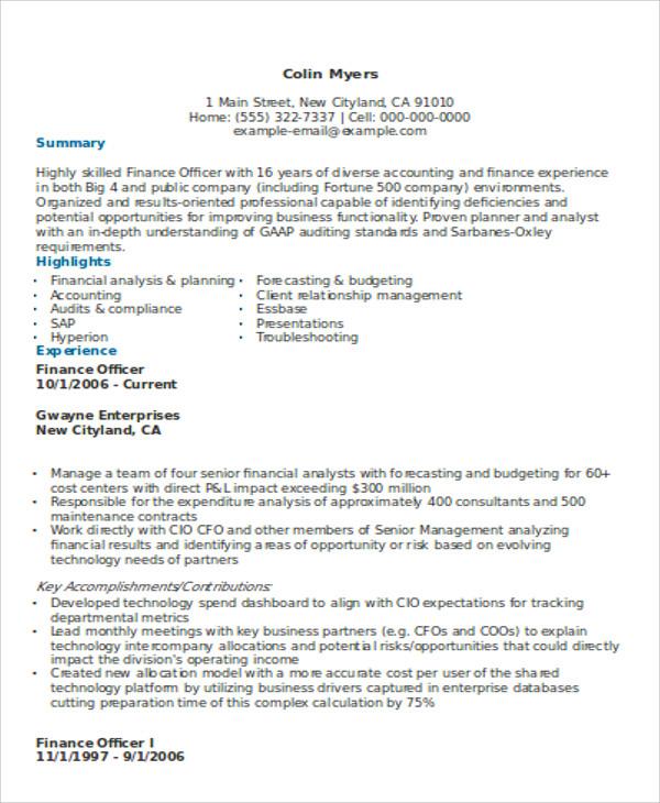 big 4 resume sample - Yenimescale