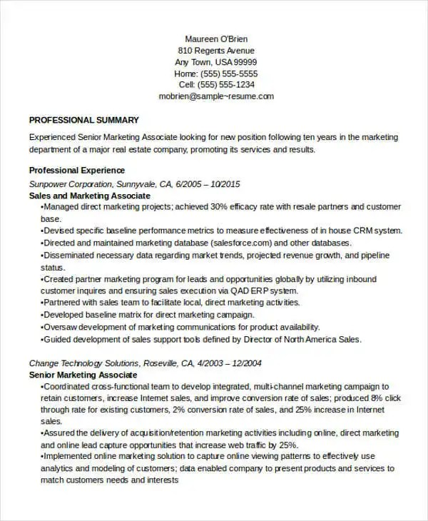 27+ Marketing Resume Templates in PDF Free  Premium Templates - marketing sales sample resume