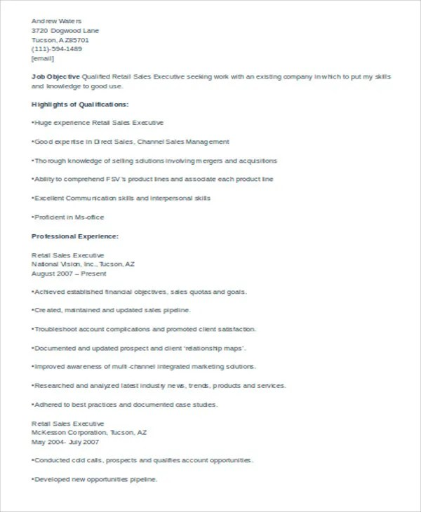 31+ Executive Resume Templates in Word Free  Premium Templates - retail executive resume