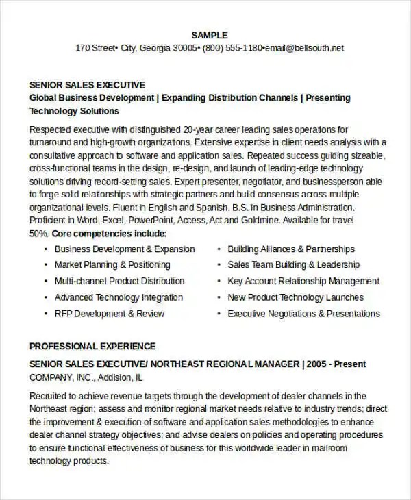 15+ Executive Resume Templates - PDF, DOC Free  Premium Templates