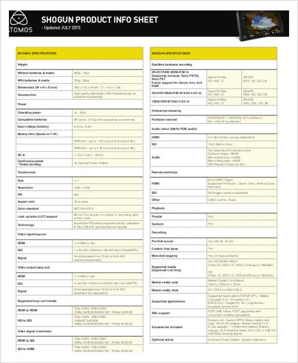Product Information Sheet Template Lucidcentralorg \u003e Software - information sheet templates