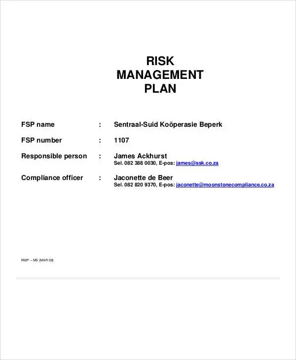 9+ Risk Management Plan Templates -Free Samples, Examples, Format