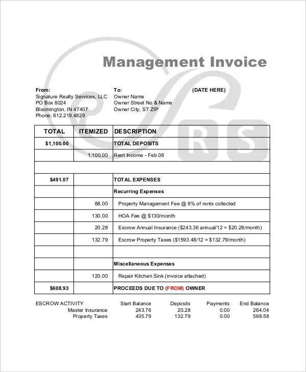 sample invoices for small business