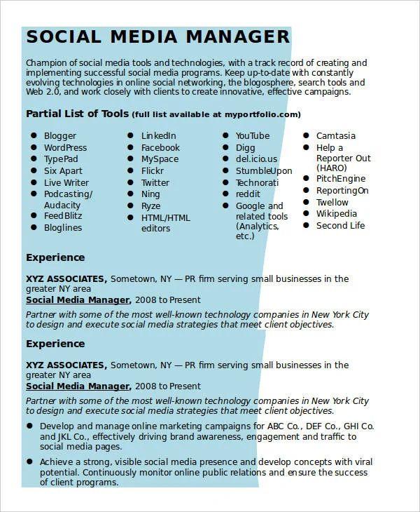 social media manager cv example